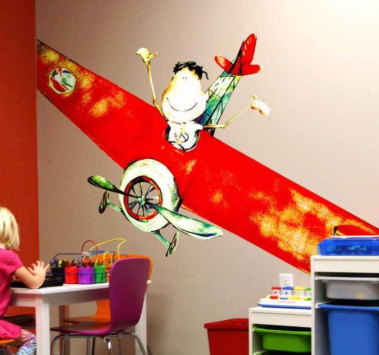 TenStickers. Little Boy in Airplane Illustration. An impressive and colourful wall decal by illustrator Lol Malone of a happy little boy waving from a red airplane.