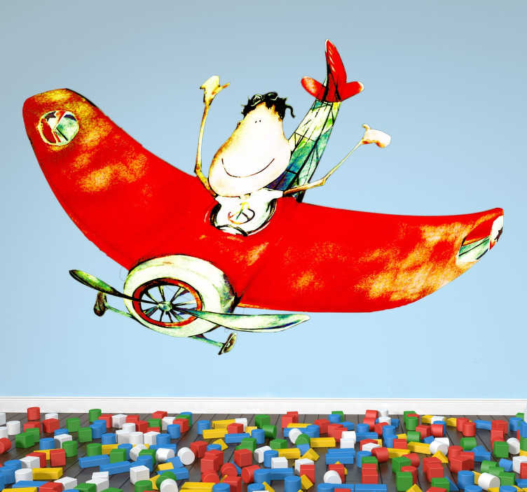 TenStickers. Naklejka chłopczyk w samolocie. Orginalna, kolorowa naklejka winylowa do pokoju dziecięcego przedstawiająca rozradowanego chłopca lecącego w czerwonym samochodzie. Obrazek wykonany przez ilustratora Lol Malone.