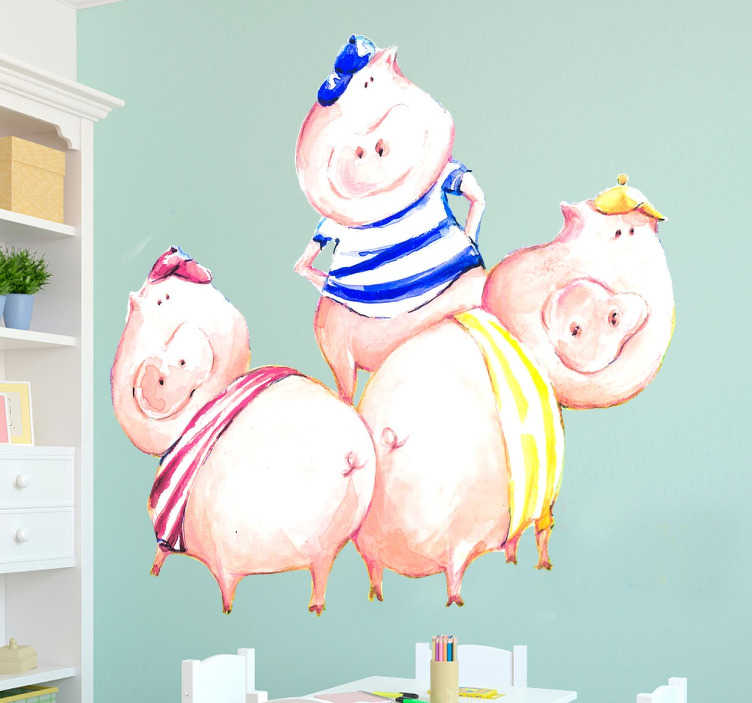 TenStickers. Adesivo per bambini i tre porcellini. Adesivo decorativo per bambini nel quale vengono rappresentati i famosi tre porcellini del noto racconto per bambini.