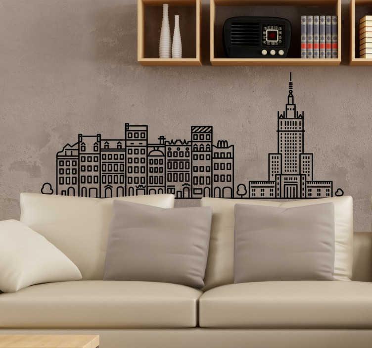 TenStickers. Warschau Aufkleber schwarz-weiß. Dekoratives Wandtattoo Warschau. Dekorieren Sie Ihr Zuhause mit einem schönen Sticker der Silouhette der polnischen Hauptstadt Warschau.