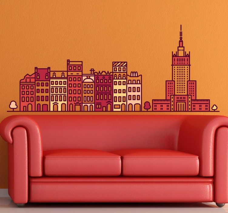 TenStickers. Wandtattoo Skyline Warschau bunt. Dekoratives Wandtattoo Warschau. Dekorieren Sie Ihr Zuhause mit einem schönen und bunten Sticker der Skyline der polnischen Hauptstadt Warschau.