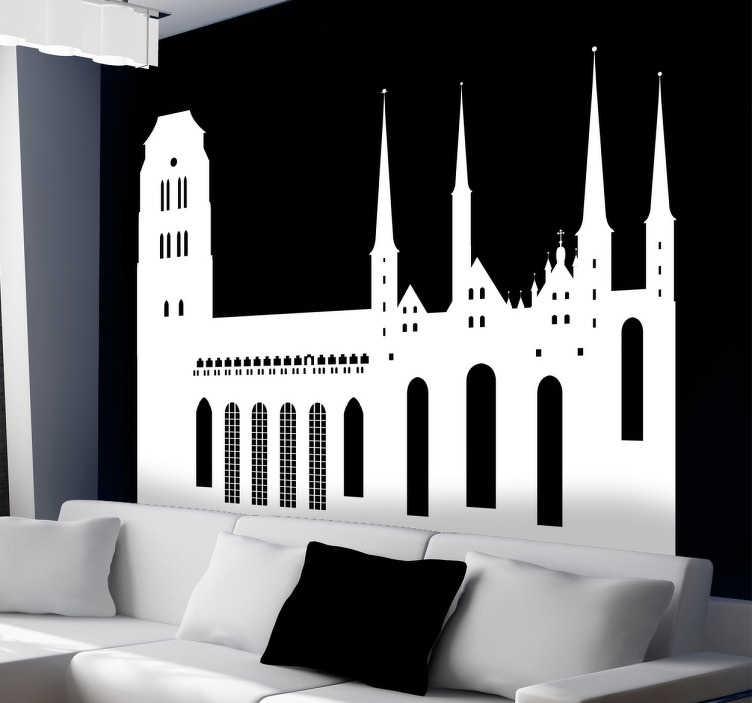 TenStickers. Autocolante decorativo skyline Gdansk. Autocolante decorativo com a linha do horizonte da cidade de Gdansk ideal para a decoração da sala ou na decoração do quarto.