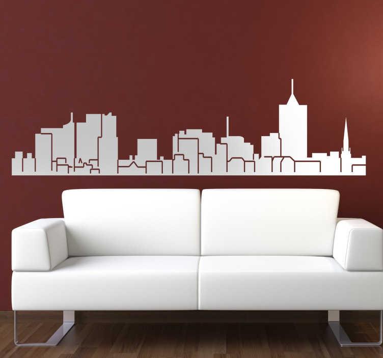 TenStickers. Autocolante decorativo skyline Posnânia. Autocolante decorativo com a skyline de Posnânia. Vinil personalizado para a decoração da sala ou para a decoração do quarto.