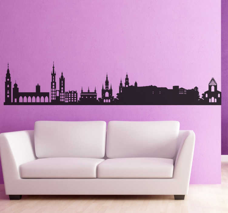 TenVinilo. Vinilo decorativo silueta Krakovia Polonia. Vinilos de skyline de ciudades europeas, en concreto de una de las urbes más importantes de Polonia.