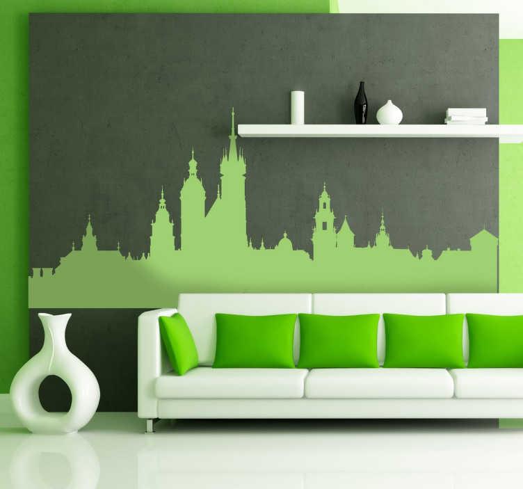 TenStickers. Skyline Krakau Aufkleber. Dekoratives Wandtattoo Krakau. Dekorieren Sie Ihr Zuhause mit einem bunten Sticker der Skyline von der schönen, polnischen Stadt Krakau.