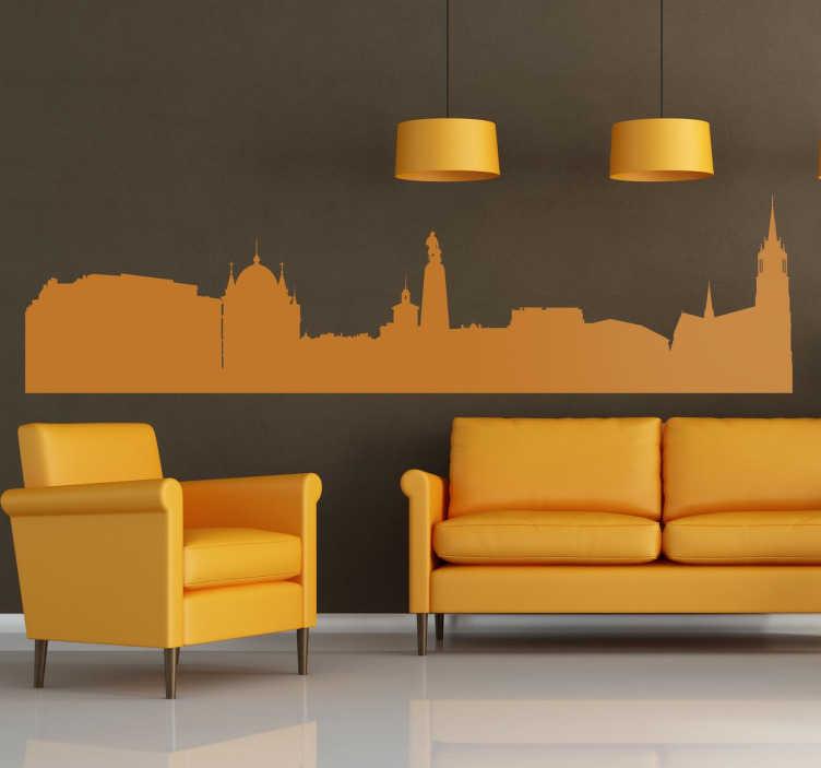 TenStickers. Naklejka Łódź. Naklejka na ścianę przedstawiająca panoramę Łodzi. Monochromatyczny wzór powoli Ci dopasować Ci naklejkę do wnętrz i własnych upodobań.
