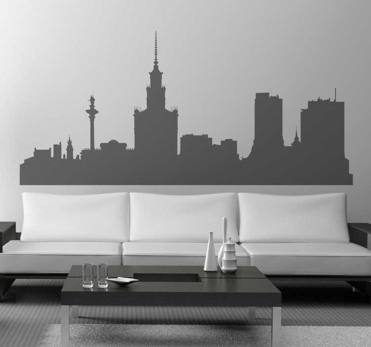 TenStickers. Skyline Warschau Sticker. Wandtattoo Warschau. Dekorieren Sie Ihr Wohnzimmer mit einem Sticker der Skyline von der schönen, polnischen Hauptstadt Warschau.