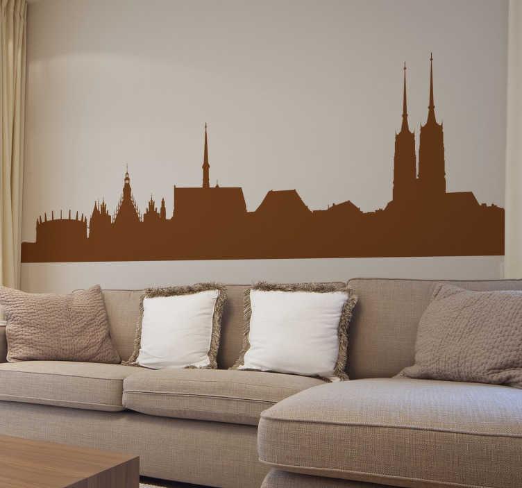 TenStickers. Autocolante decorativo skyline Breslávia. Autocolante decorativo com a skyline de Breslávia. Aconselhamos que coloques este vinil personalizado na decoração da sala ou na decoração do quarto.