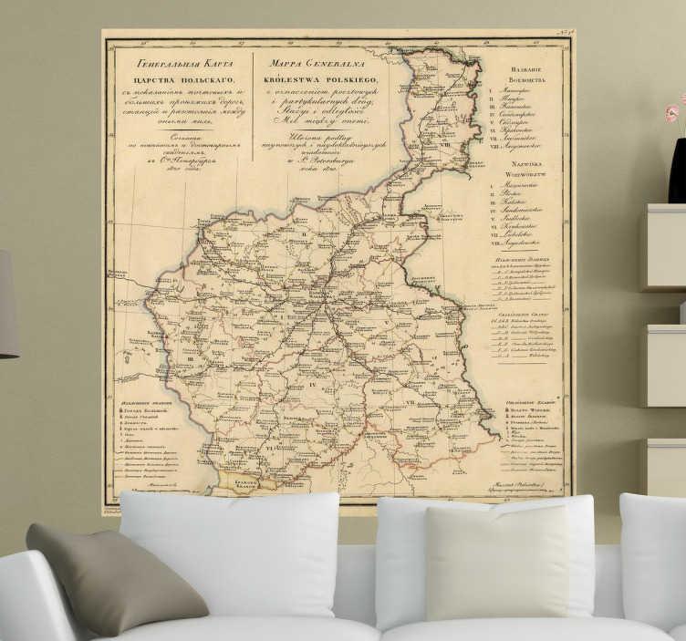 TenStickers. Polen Karte 1820 Aufkleber. Dekoratives Wandtattoo einer alten polnischen Karte aus dem Jahr 1820. Dekorationsidee Wohnzimmer.