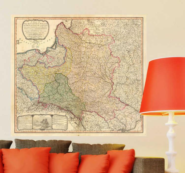 TenStickers. Naklejka mapa Polski 1799. Naklejka dekoracyjna przedstawiająca mapę Polski po III rozbiorze. Naklejka winylowa imituje starodawną mapę w odcieniach sepi.