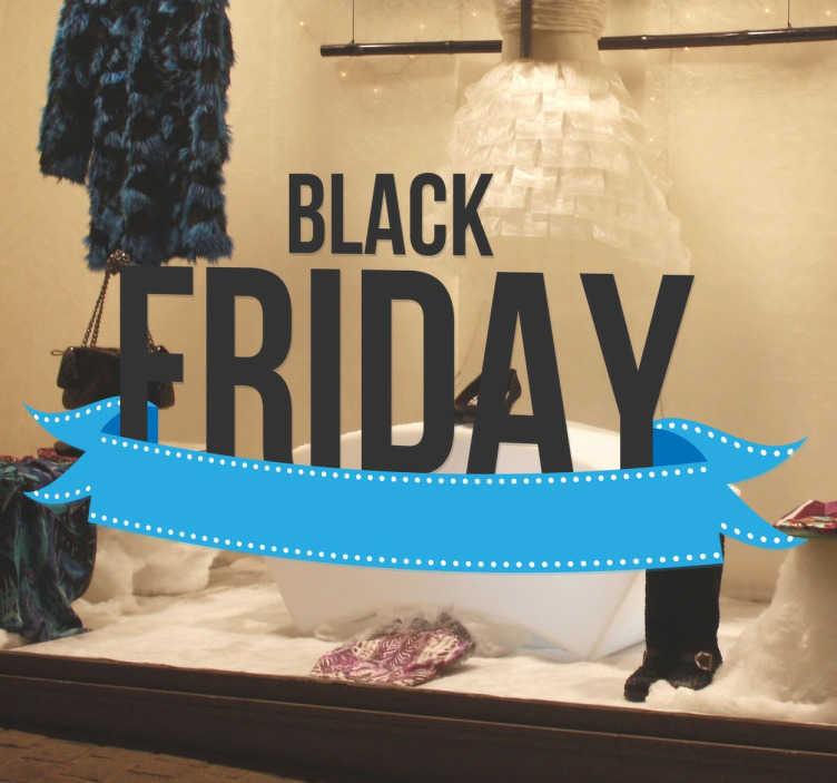 Tenstickers. Svart fredag klistremerke. Svart fredagstegnet klistremerke som vises i butikken din. Butikkvinduet vil markedsføre rabatter i november på svart fredag.