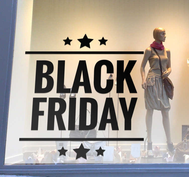 TenStickers. Black Friday Decorative Sticker. Celebrate Black Friday with this decorative window decal! Decorate your business with a special Black Friday sticker featuring text and stars to advertise. Available in over 50 different colours.