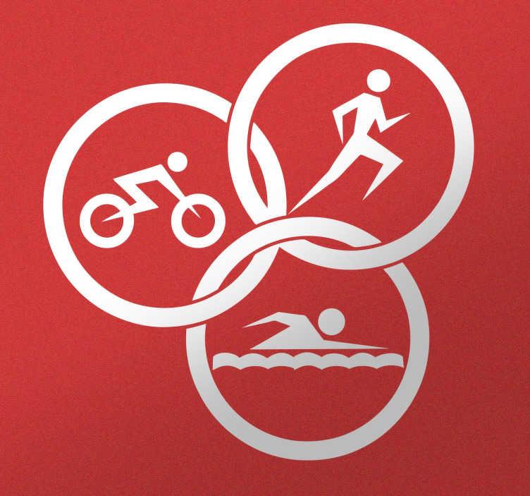 TenStickers. Naklejka ikona triathlon. Naklejka dekoracyjna przedstawiająca symbol wieloboju, który jest kombinacją pływania, kolarstwa i biegania. Wszechstonna dyscyplina sportowa dla wytrwałych.