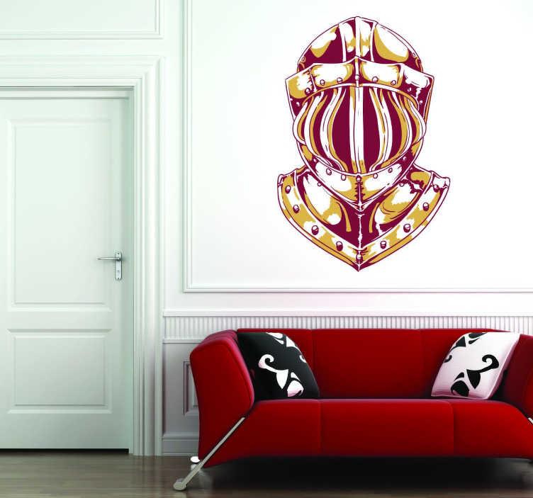 TenStickers. Sticker heaume de chevalier. Superbe sticker représentant un heaume de chevalier, idéal pour tous ceux qui sont passionnés par les héros du Moyen-Âge.