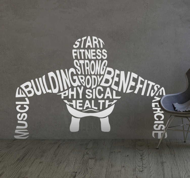 TenStickers. Vinil decorativo conceitos de ginásio. Vinil decorativo para decorar as paredes do teu negócio ou da tua casa. Para os entusiastas do desporto e do exercício com halteres.