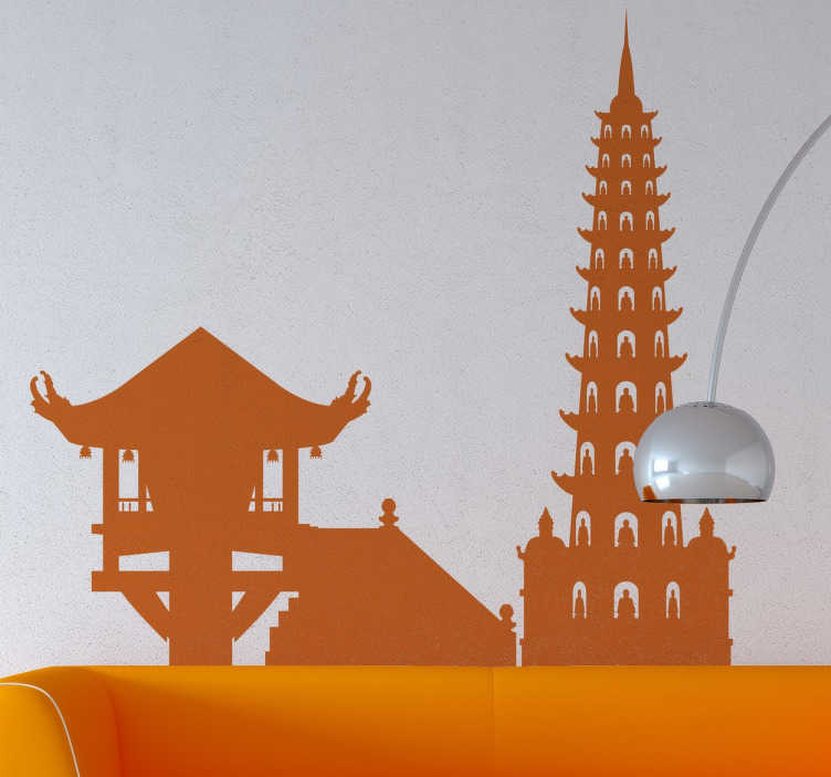 TenStickers. Hanoi Skyline Sticker. A spectacular design illustrating the skyline of Vietnam's capìtal. This skyline decal is ideal for those that love architecture and rich cultures.
