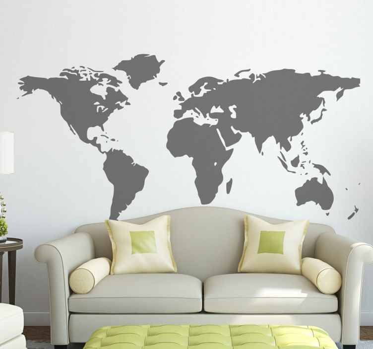 TenStickers. Vereinfachte Zeichnung Weltkarte Wandtattoo. A superb design of the world map to decorate your living. This world map sticker is perfect for those that love to travel and visit new places!