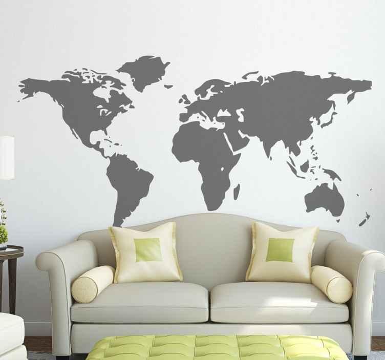 TenStickers. Muursticker wereld map. Een mooie, simpele wereldkaart muursticker. Deze wanddecoratie zal uw muur en kamer meteen een andere sfeer geven. Keuze uit 50+ kleuren.