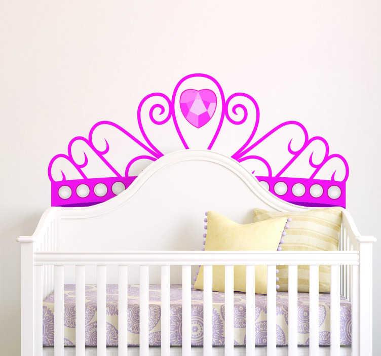 TenVinilo. Vinilo decorativo corona princesa. Vinilo infantil para las princesas del hogar. Haz que tus hijas se sientan como unas princesas y entren en el mundo de las princesas en su habitación.