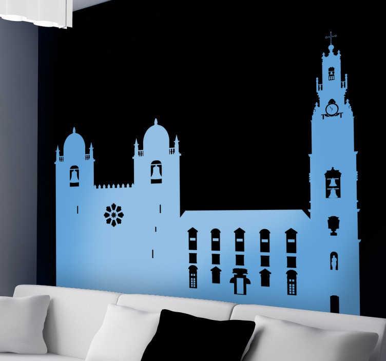 TenStickers. Porto Portugal Wandtattoo. Dekoratives Wandtattoo, das die Kathedrale der portugiesischen Stadt Porto zeigt.