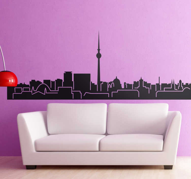 TenStickers. Berlin Skyline Sticker. A decorative decal illustrating the skyline of Germany's capital. This skyline sticker of Berlin is ideal to give your home a touch of originality.