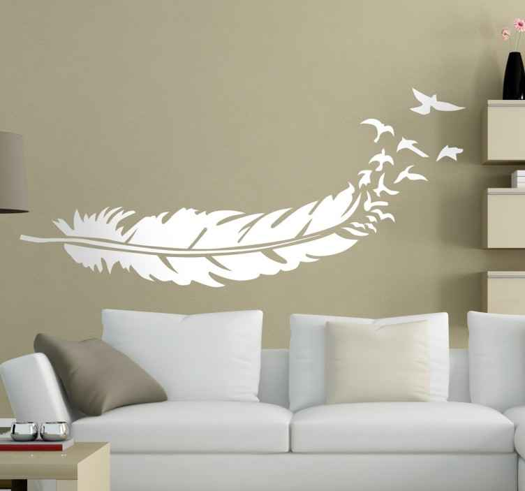 Tenstickers. Sisustustarra sulka ja linnut. Sisustustarra sulka ja linnut. Tyylikäs seinätarra, jossa on kaunis sulkakuvio ja sulasta poispäin lentävät pienet linnut.