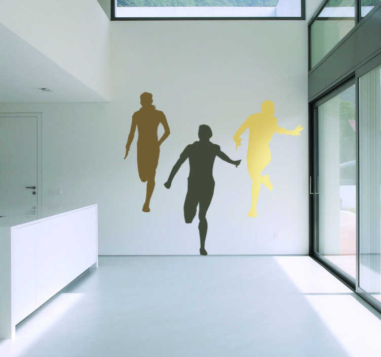 TenStickers. Sticker décoratif coureurs. Sticker original représentant trois coureurs en pleine action, idéal pour décorer une salle de sports.