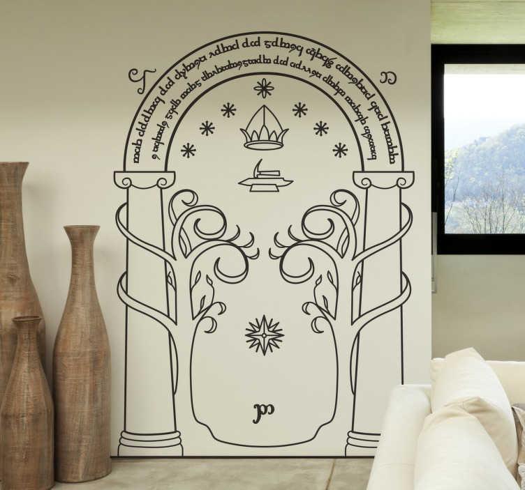 TenVinilo. Vinilo decorativo puerta minas moria. Vinilo del Señor de los Anillos con un dibujo de la puerta que da acceso a las colosales minas de los Enanos.