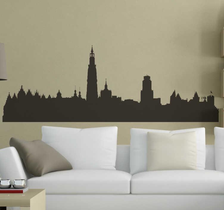 TenStickers. Muursticker skyline antwerpen. Interessante muursticker van de Skyline van Antwerpen, mooie wanddecoratie voor sfeer in de kamer. De historische stad als woonaccessoires.