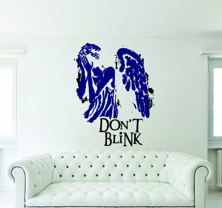 TenStickers. 'Don't Blink' Doctor Who Sticker. An image of a winged angel covering her eyes, with the words 'dont't blink written underneath.