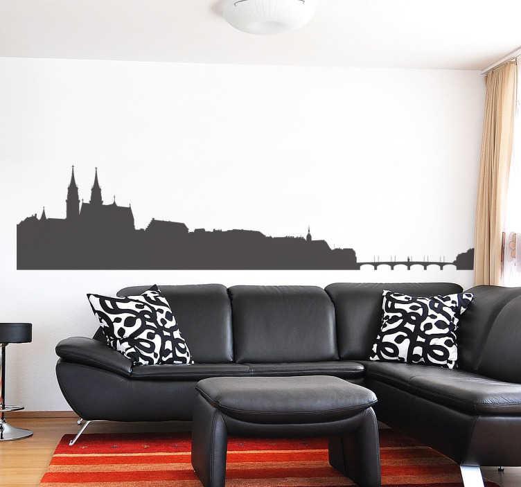 TenStickers. Skyline Basel Muursticker. Decoratieve muursticker met de skyline van de Zwitserse stad, Basel. Kleur en formaat aanpasbaar. +10.000 tevreden klanten.