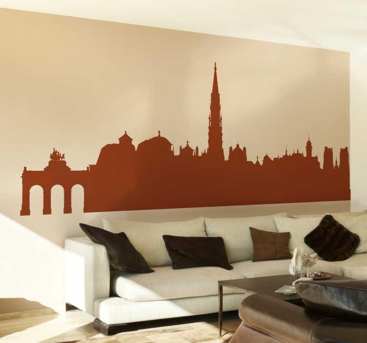 TenStickers. Naklejka widok na Brukselę. Naklejka dekoracyjna przedstawiająca panoramę Brukseli, z wszystkimi najbardziej charakterystycznymi miejscami. Udekoruj salon w stylowy sposób!