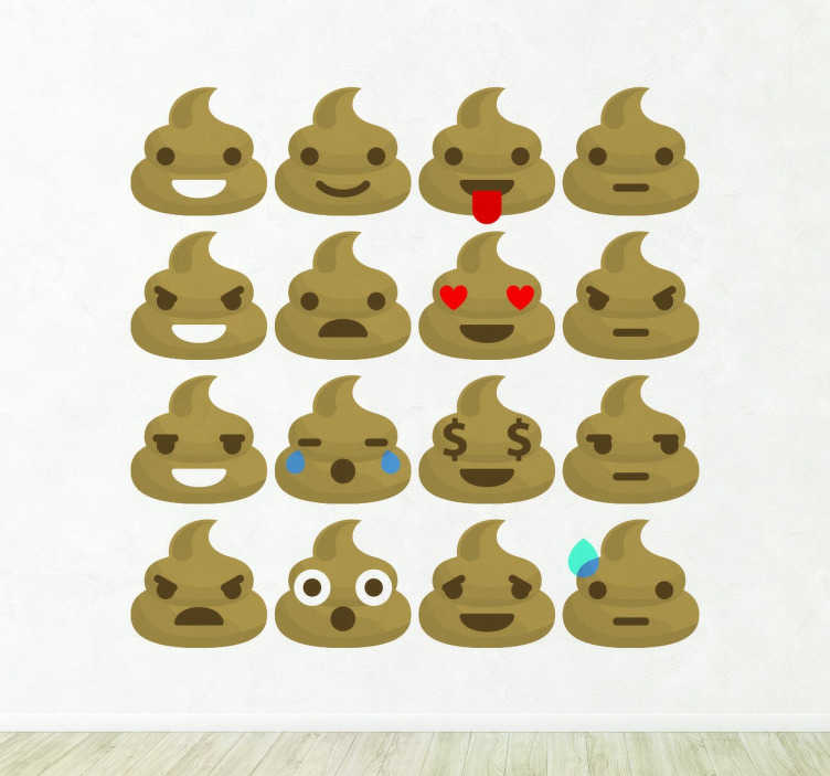TenStickers. Droppings Emoji Stickers. Customize the walls of your home with this fun decorative sticker consisting of dropping emojis showing different emotions and expressions.