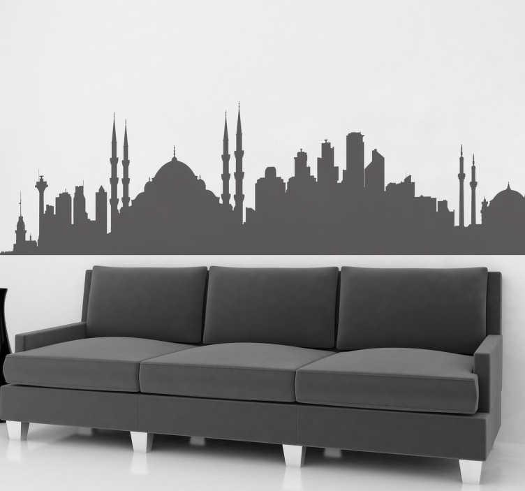 TenStickers. Istanbul Skyline Sticker. Een muursticker met de skyline van het Turkse wereldstad Istanbul! Je kunt deze sticker beplakken op de muur, op kasten, ramen etc!