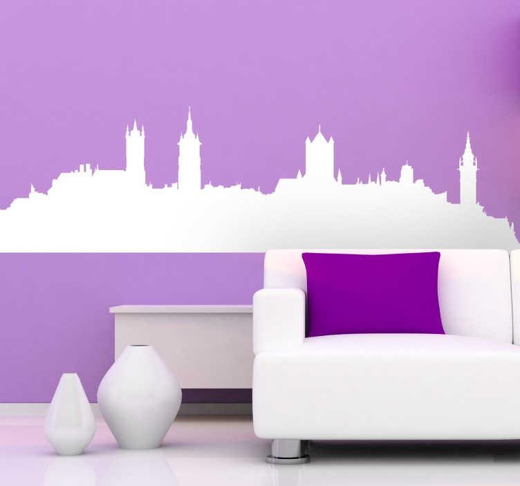 TenStickers. Skyline Gent stad België sticker. Beplak deze skyline van het mooie Belgische Gent in jouw woonkamer! Je ziet de highlights van de stad en kunt deze makkelijk in jouw huis brengen!