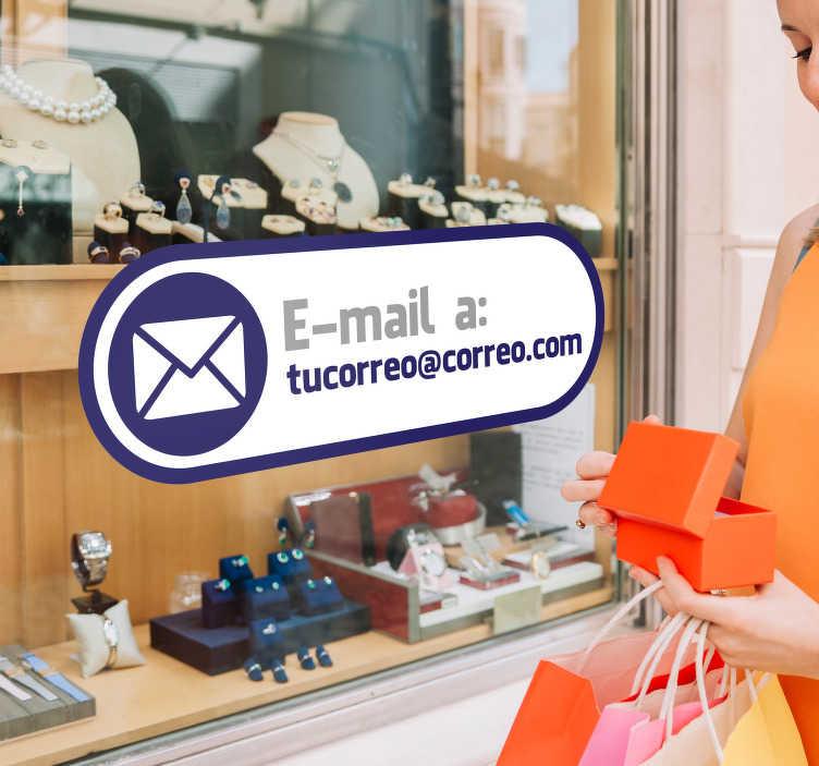 TenVinilo. Vinilo decorativo etiqueta email. Etiqueta e-mail es el vinilo decorativo para tu negocio que permitirá a todos tus clientes saber cómo te pueden contactar.