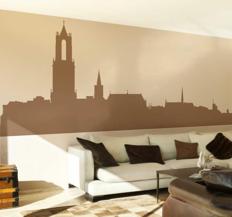 TenStickers. Silhouette stickers Skyline Utrecht silhouet. Kom jij uit Utrecht of ben je helemaal gek op deze prachtige stad in Nederland? Dan bestel snel deze muursticker met de skyline van Utrecht!