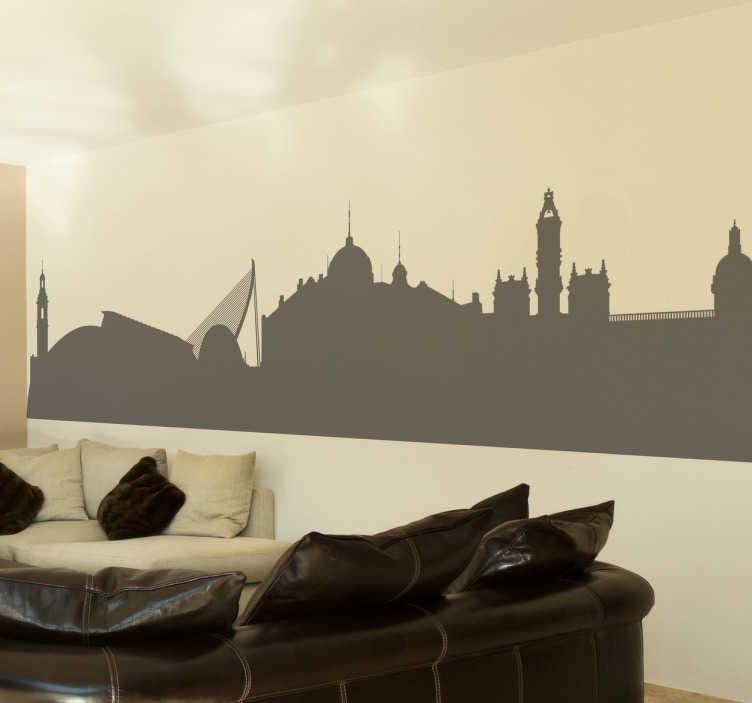 TenStickers. Naklejka panorama Walencji. Naklejka dekoracyjna przedstawiająca widok na Walencję na tle nieba. Monochromatyczna naklejka przedstawia zarys najsłynniejszych budowli hiszpańskiego miasta.
