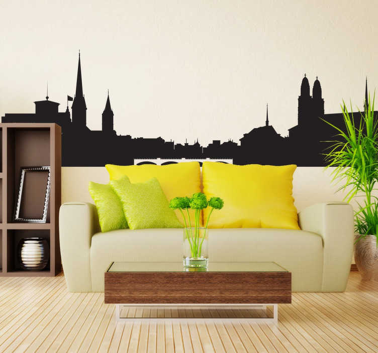 TenStickers. Sticker skyline Zurich. Découvrez ce superbe sticker décoratif représentant la ville de Zurich, une des plus belles villes d'Europe.
