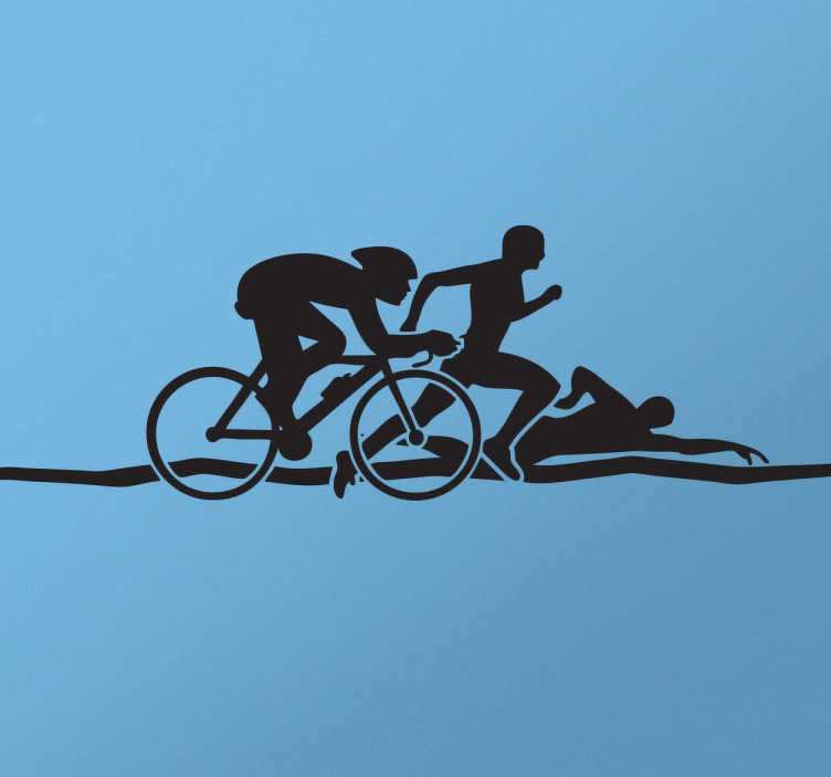"""""""Tenstickers"""". Triatlono silueto animuotasis paveiksliukas. Silueto lipdukas, vaizduojantis tris žmones, užsiimančius skirtingomis sporto šakomis. šis triatlono dizainas idealiai tinka ten, kur sportuojama."""