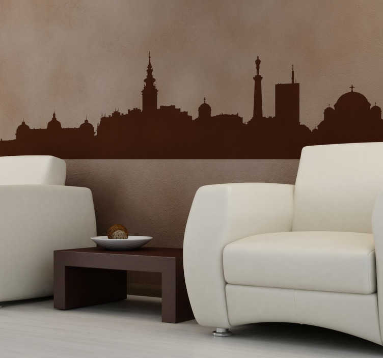 TenStickers. Naklejka panorama Belgrad. Naklejka dekoracyjna przedstawiająca stolicę Serbii. Udekoruj wnętrza dowolnie wybranym kolorem i rozmiarem naklejki.