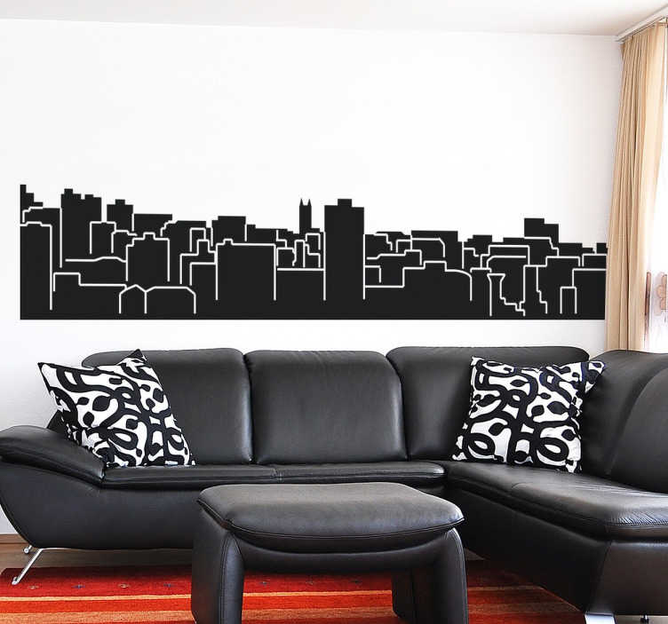 TenStickers. Autocolante decorativo skyline Bristol. Autocolante decorativo com os elementos turísticos de Bristol. Vinil personalizado para a decoração da sala ou para a decoração do quarto