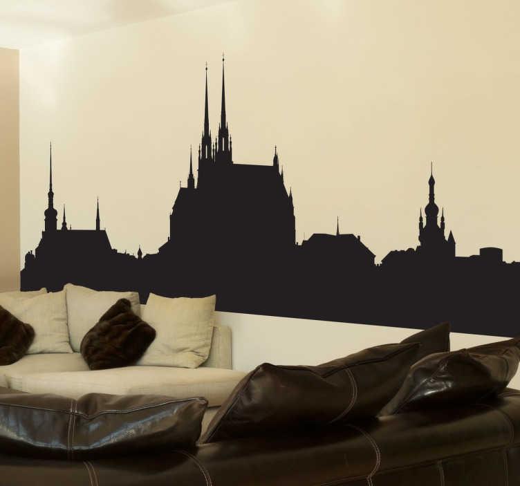 TenStickers. Sticker skyline Brno. Sticker original pour décorer les murs de votre intérieur, avec cette superbe représentation de Brno, la deuxième plus grande ville de République Tchèque.