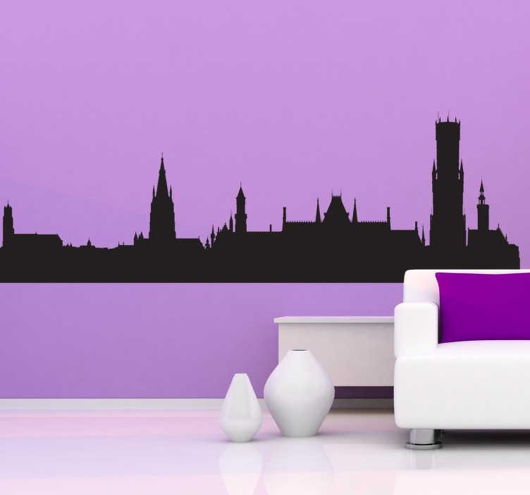 TenStickers. Skyline Belgische Brugge sticker. De Belgische stad Brugge kan nu in jouw woonkamer plakken dankzij deze te gekke skyline sticker! Bestel hem in jouw favortiete kleur!
