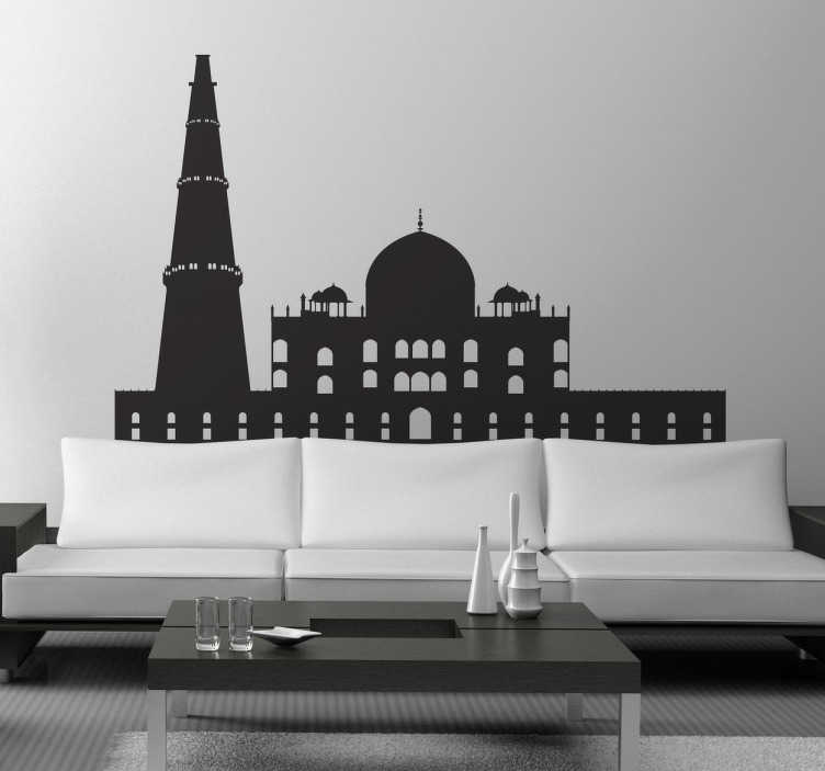 TenStickers. Delhi Skyline Sticker. A spectacular design illustrating India's capital! This skyline decal of Delhi is ideal to give your home a new and fresh atmosphere.