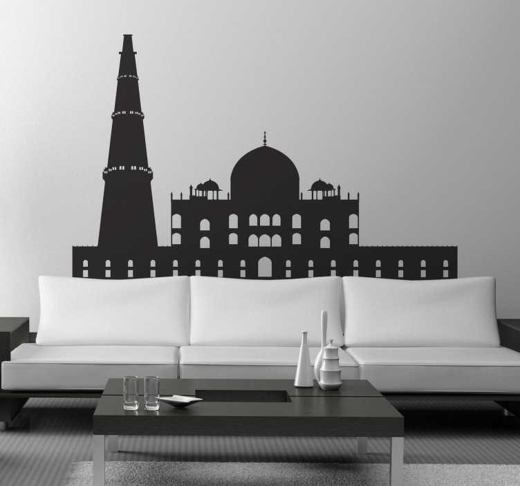 TenStickers. Naklejka panorama Delhi. Naklejka dekoracyjna przedstawiająca panoramę Delhi, miasta położonego nad rzeka Jamuną i byłej stolicy Indii.