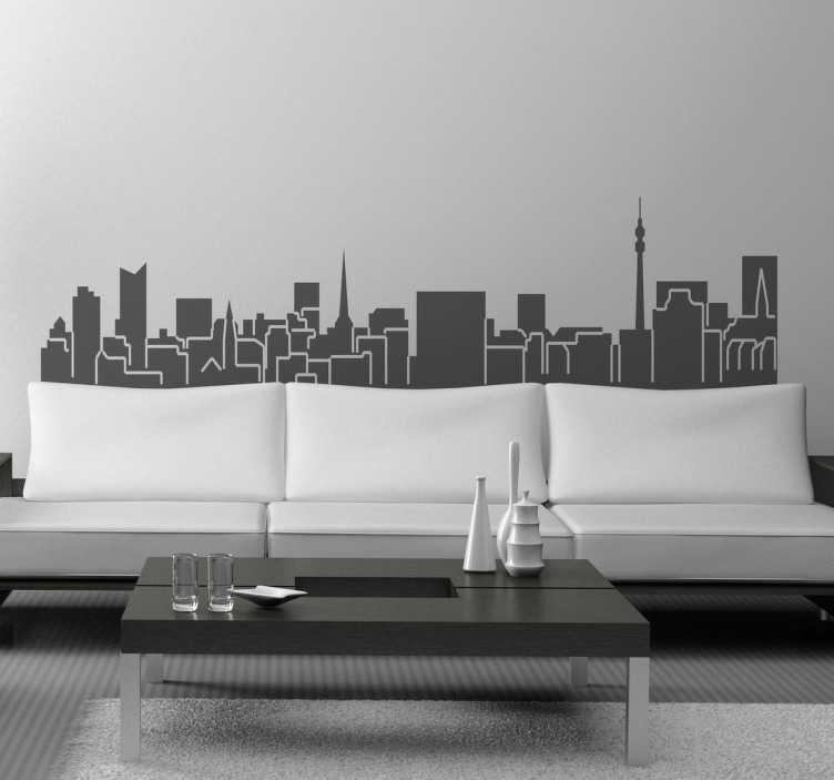 TenStickers. Adesivo skyline Dortmund. Adesivo decorativo con lo skyline di Dortmund. Una rappresentazione elegante e molto semplice.Ideale per tutti gli amanti di questa cittá.