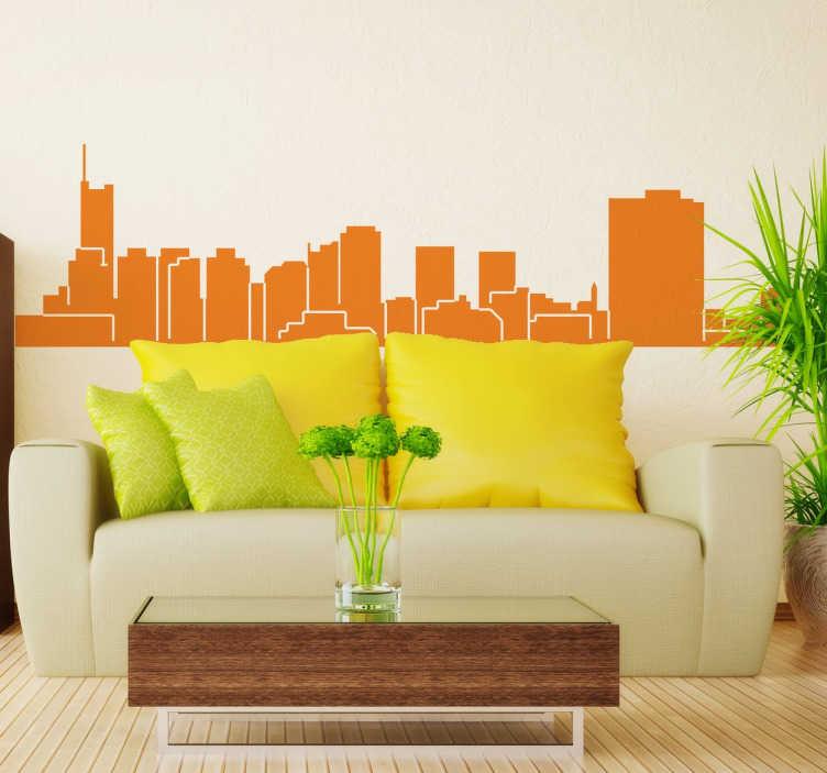 TenStickers. Autocolante decorativo skyline Essen. Autocolante decorativo com a skyline da cidade Essen. Coloca este vinil personalizado na decoração da sala ou na decoração do quarto.