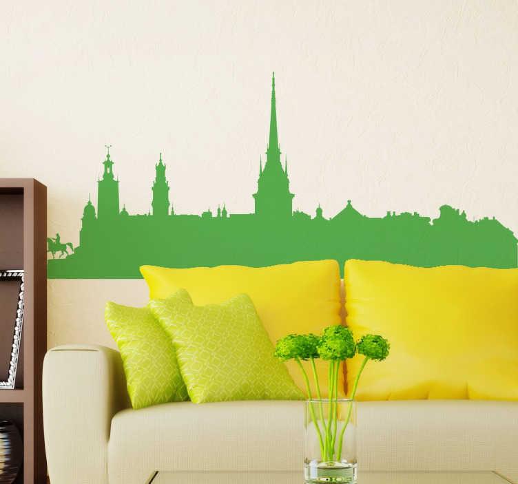 TenVinilo. Vinilo decorativo skyline Estocolmo. Vinilos skyline de la capital de Suecia y ciudad más poblada de este país del norte de Europa.