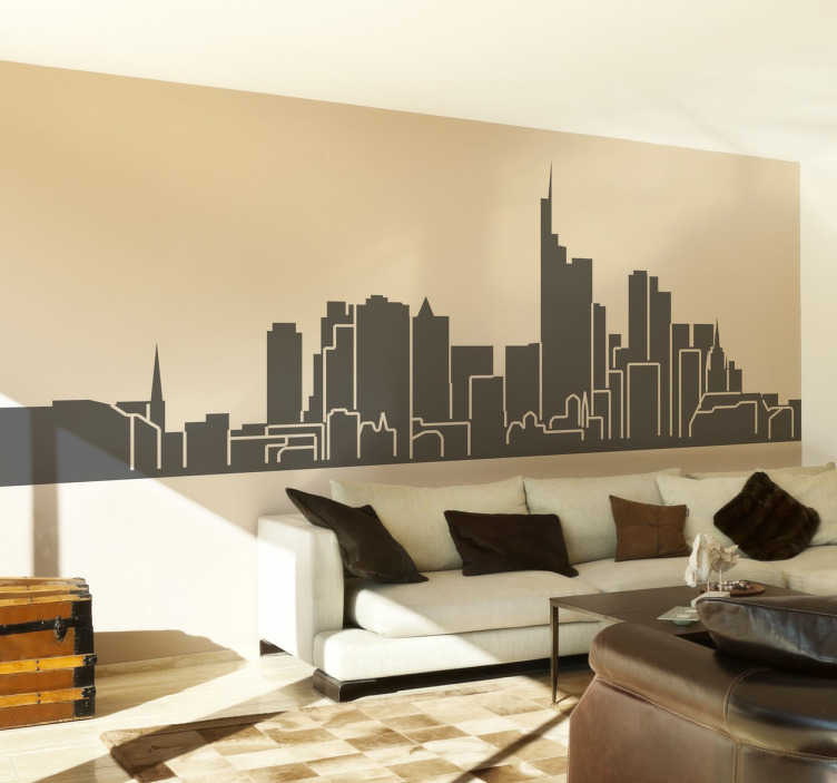 TenStickers. Naklejka dekoracyjna panorama Frankfurt. Naklejka na ścianę panorama frankfurt. naklejki na ścianę z miastami. naklejki na ścianę z panoramą. naklejka z frankfurtem.